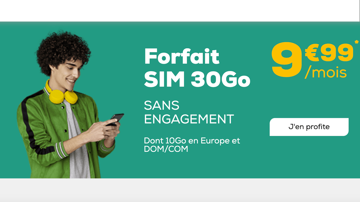 Le forfait 30 Go pas cher de La Poste Mobile est sans engagement