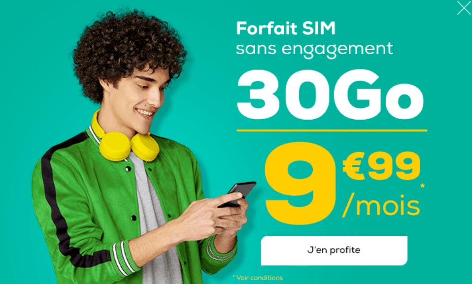 Le forfait 30 Go de La Poste Mobile