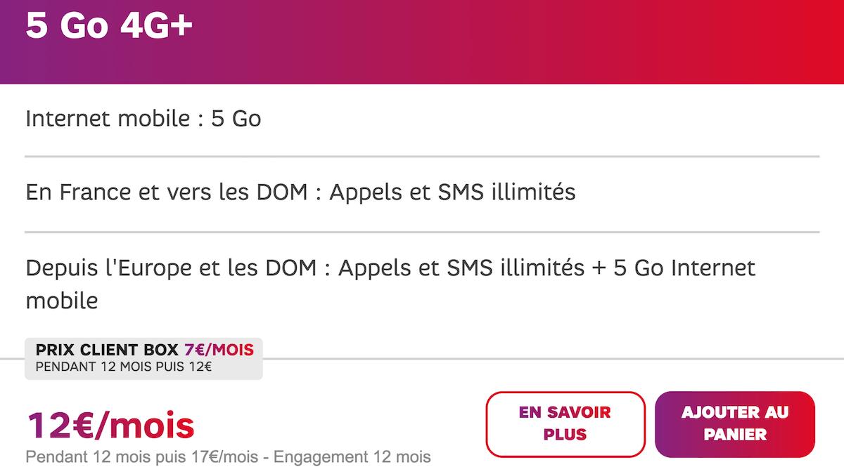Le forfait 5 Go à 12€/mois de SFR