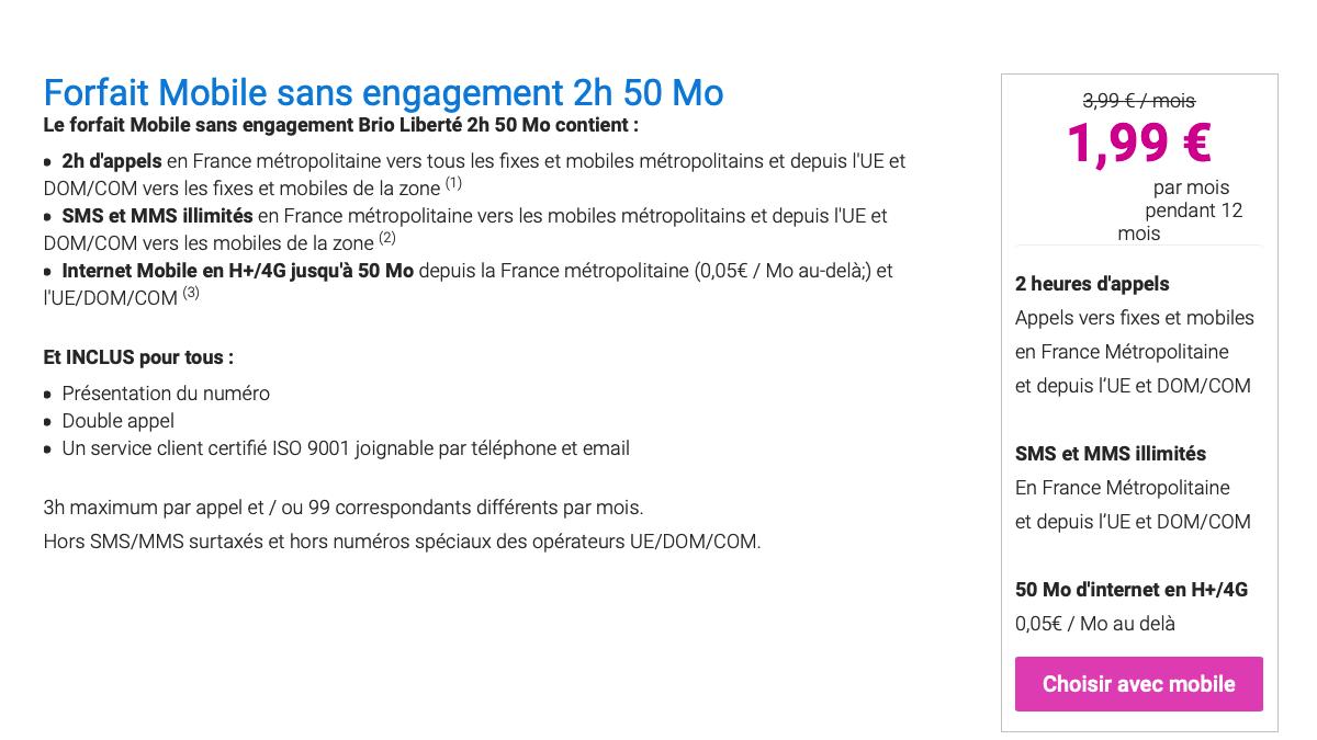 Le forfait à moins de 5€ de Coriolis Telecom est en 4G.