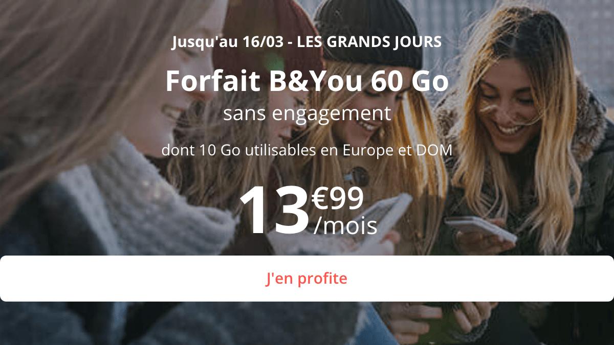 Le forfait B&YOU en promo inclut 60 Go de data