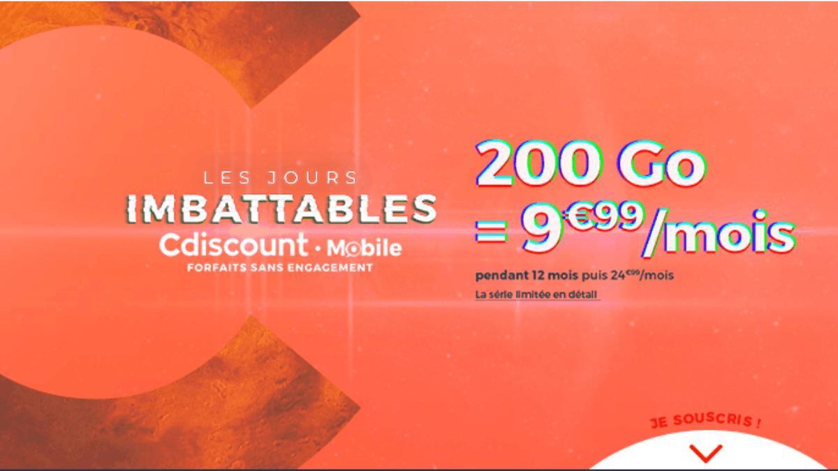 Le forfait en promo de Cdiscount Mobile pour seulement 9,99€/mois