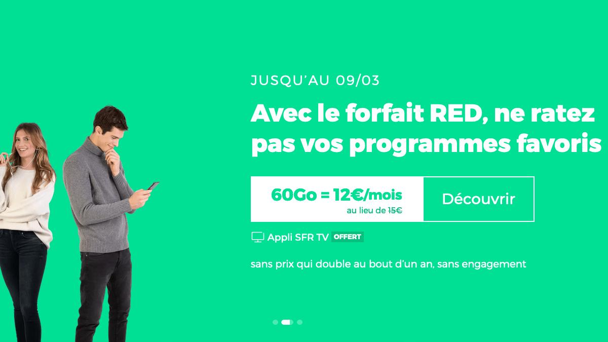 Le forfait en promo RED by SFR garantit un prix fixe de 12€/mois