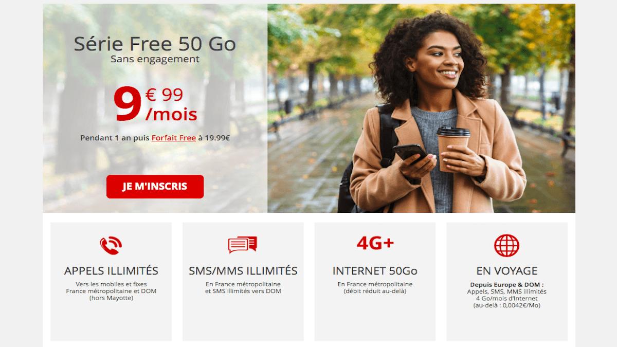 Forfait illimité Free mobile 50 Go
