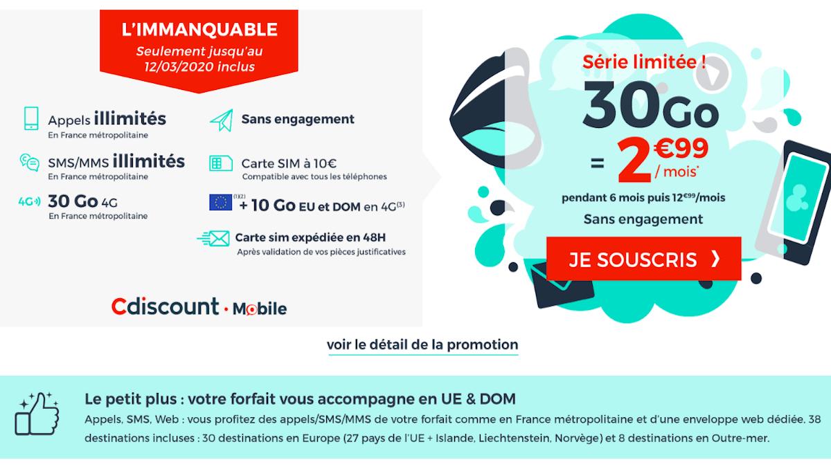 Le forfait mobiel pas cher de Cdiscount Mobile 2,99€