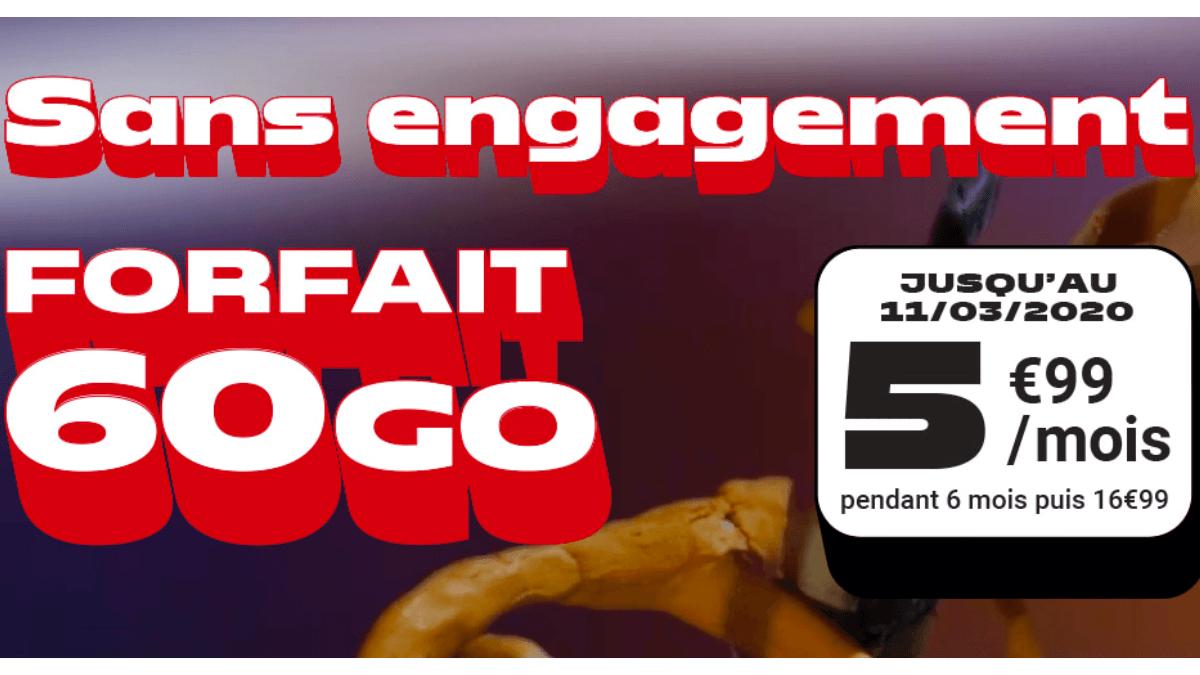 Chez NRJ Mobile, le forfait 60 Go est à 5,99€ par mois pendant 12 mois.