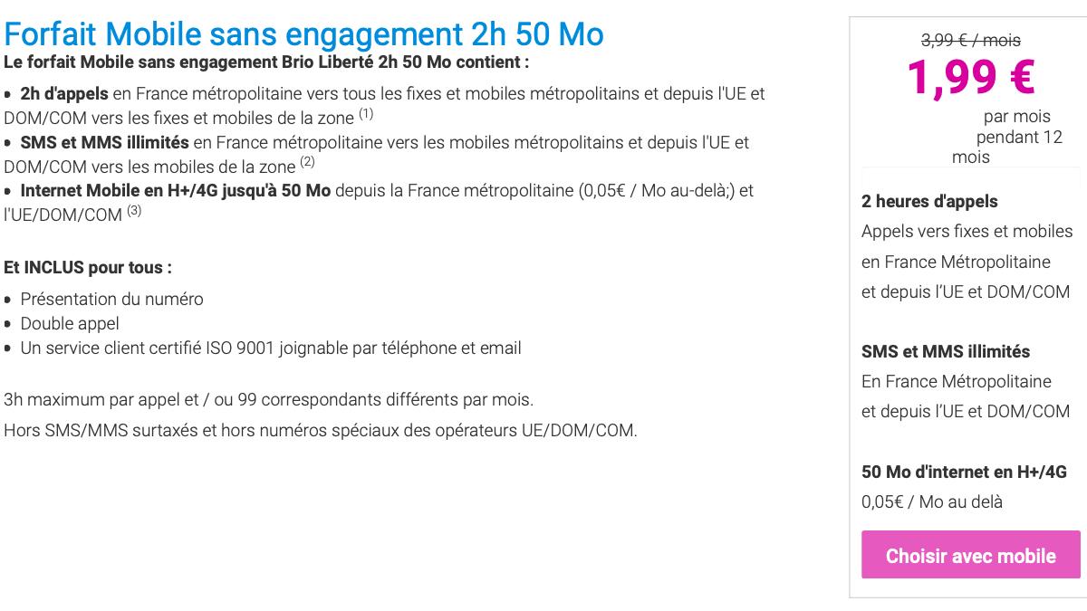 Le forfait Coriolis Telecom est à 2€ par mois seulement.
