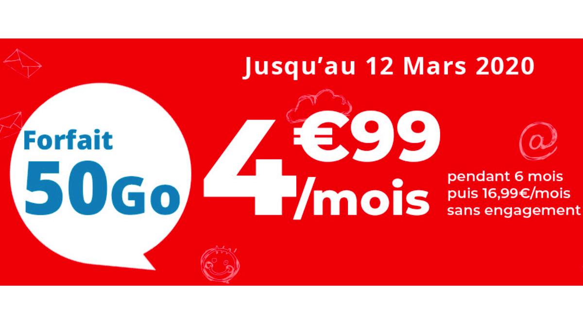 Chez Auchan Teleccom, les 50 Go sont à 4,99€.