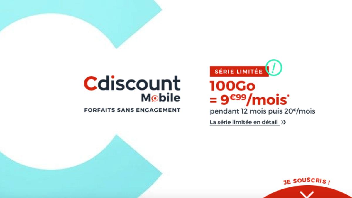 Le forfait en promo Cdiscount Mobile propose 100 Go de data