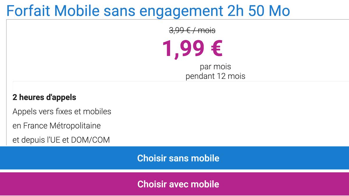 Le forfait pas cher Coriolis Telecom propose 50 Mo de data