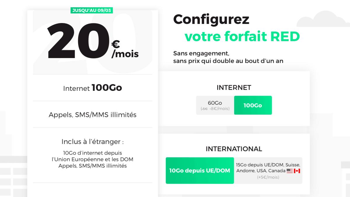 Le forfait 100 Go de RED by SFR est à 20€/mois.