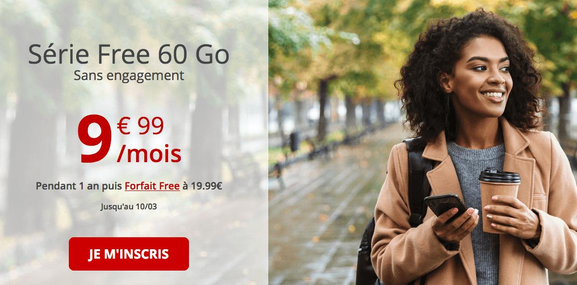 le forfait en promo Free 60 Go
