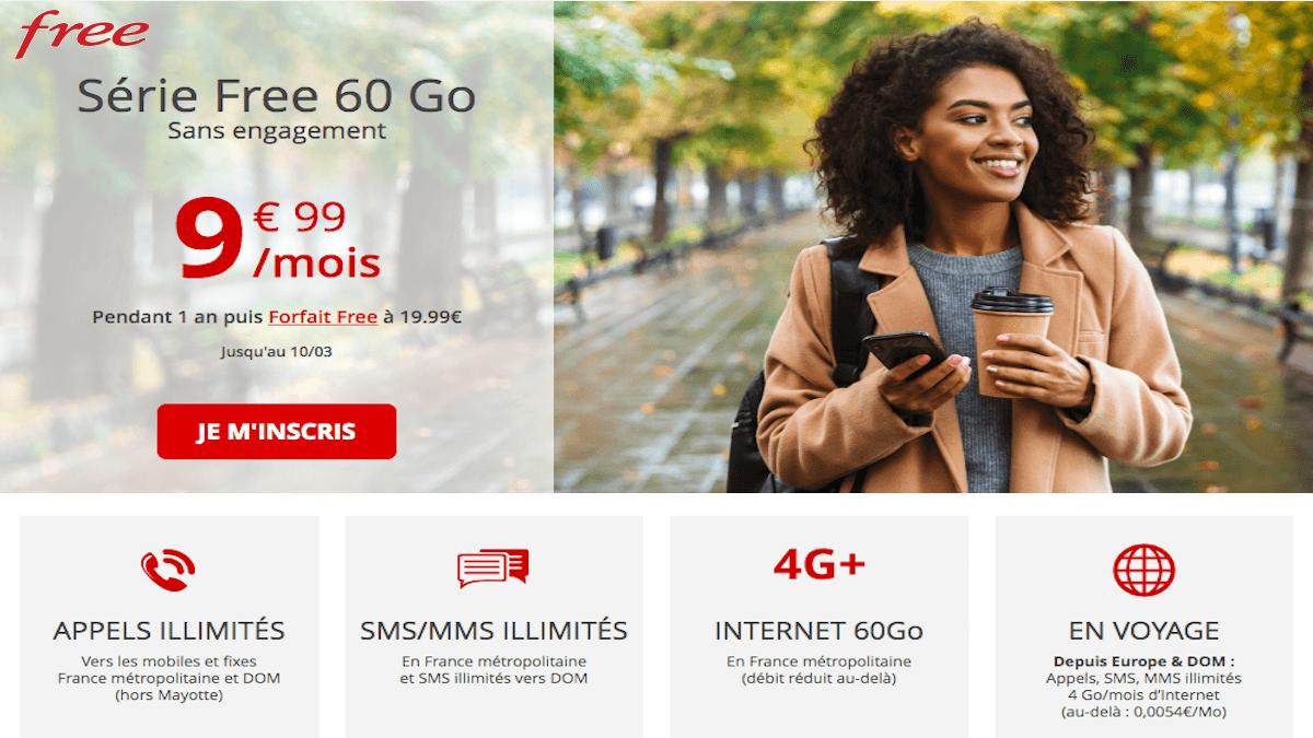 forfait 60 Go free mobile pas cher et sans engagement