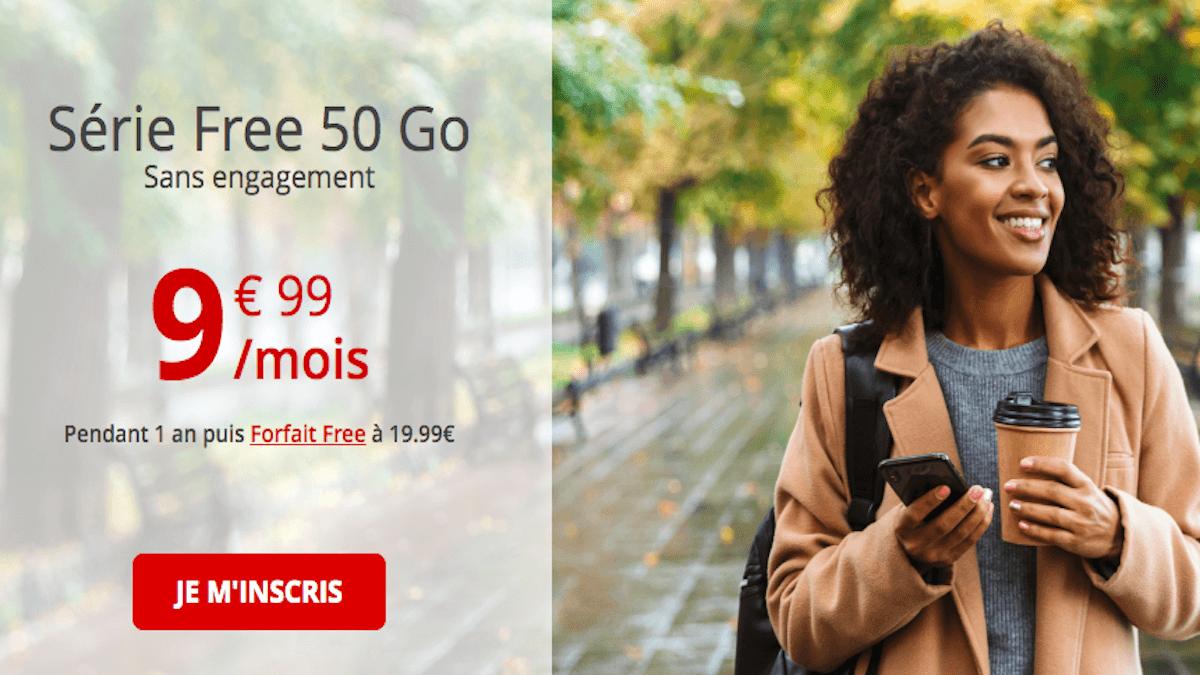 Forfait mobile Free 50 Go en promo