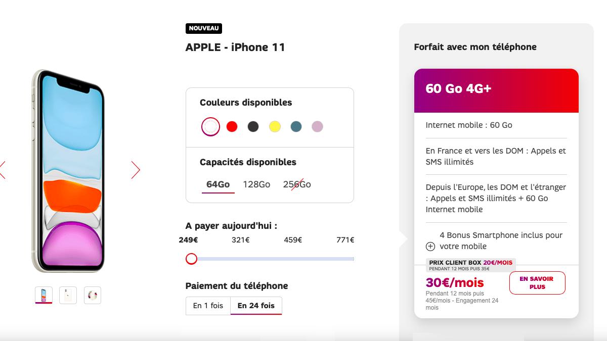 iPhone 11 à partir de 250€ chez SFR.
