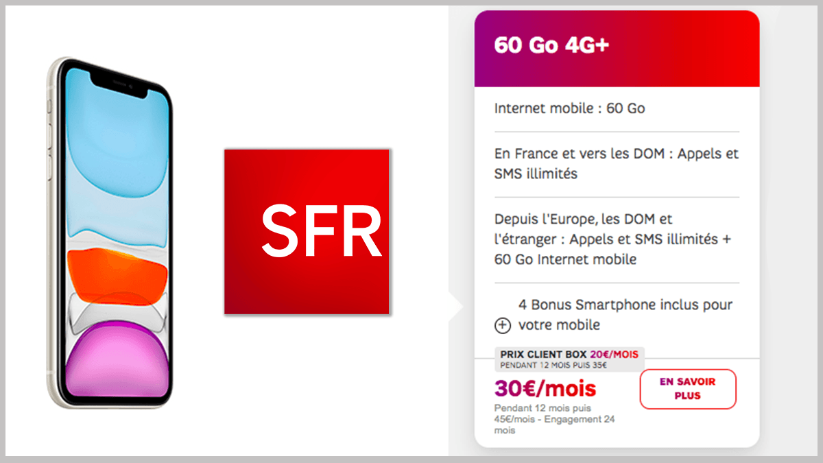 SFR propose l'iPhone 11 en promo.