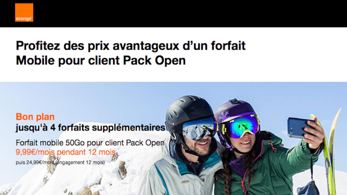 Forfait mobile 50 Go en promo pour les clients box internet Orange
