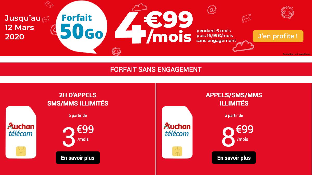 forfait mobile promo Auchan Telecom.