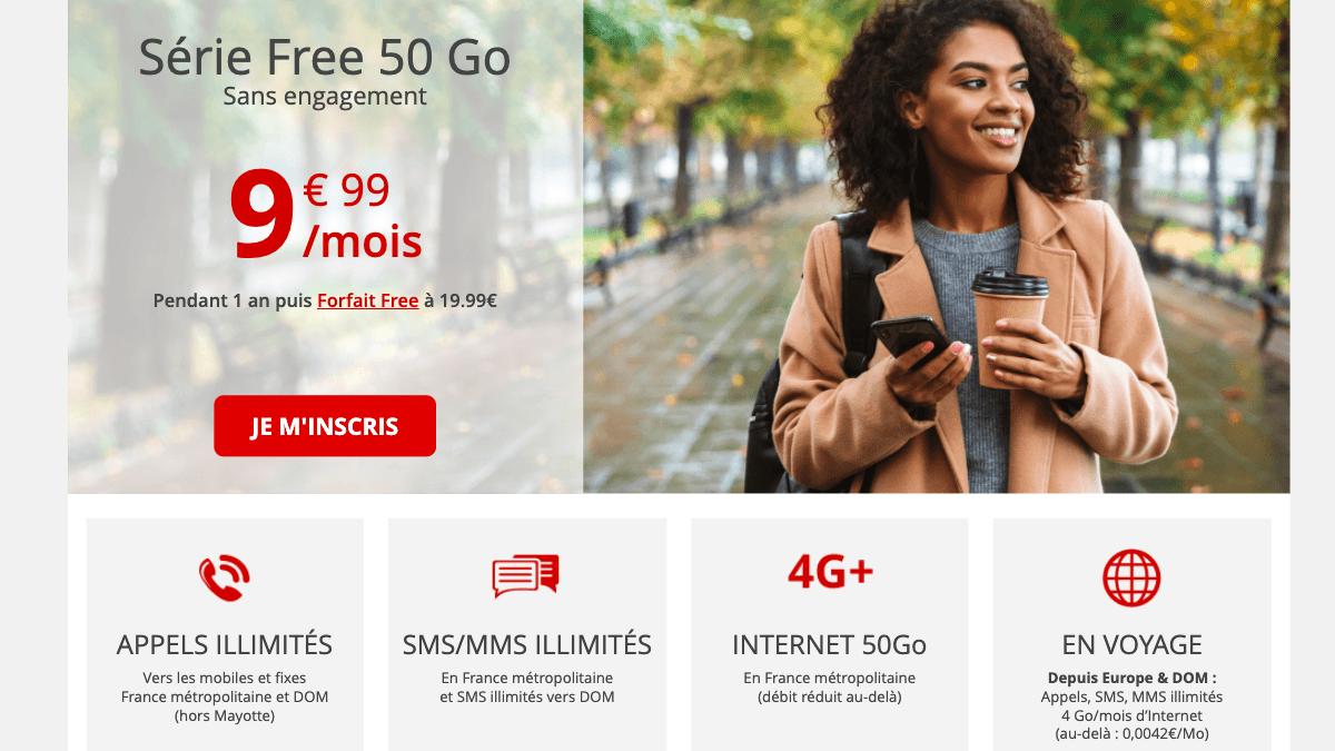Forfait 4G Free mobile à 9,99€/mois