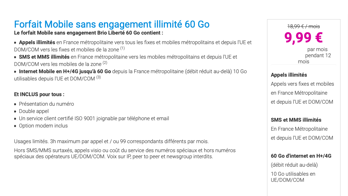 Le forfait en promo de Coriolis Télécom disponible sans engagement.