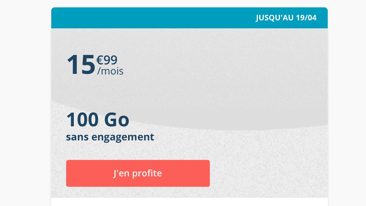 Le forfait 100 Go chez B&YOU est disponible sans engagement.