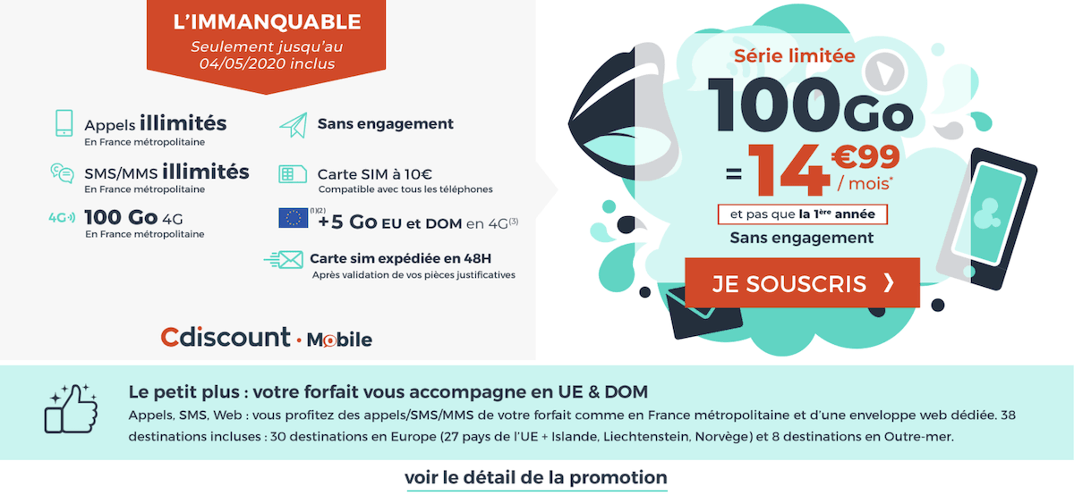Le forfait 100 Go de Cdiscount Mobile à 14,99€/mois