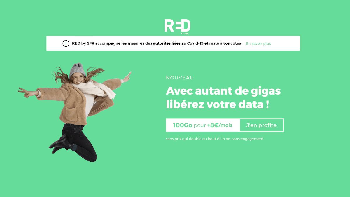 L'offre promotionnelle de RED by SFR pour 100 Go à prix réduit