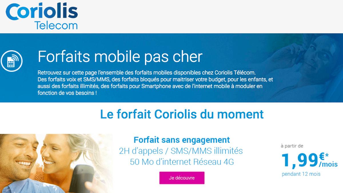 Forfait 2€ de Coriolis Telecom