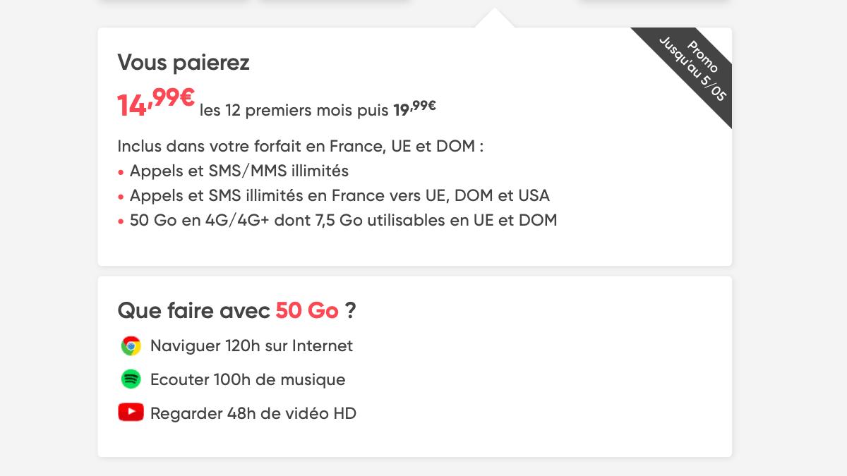 Chez Prixtel, le prix du forfait 50 Go est indexé selon l'utilisation faite du forfait.