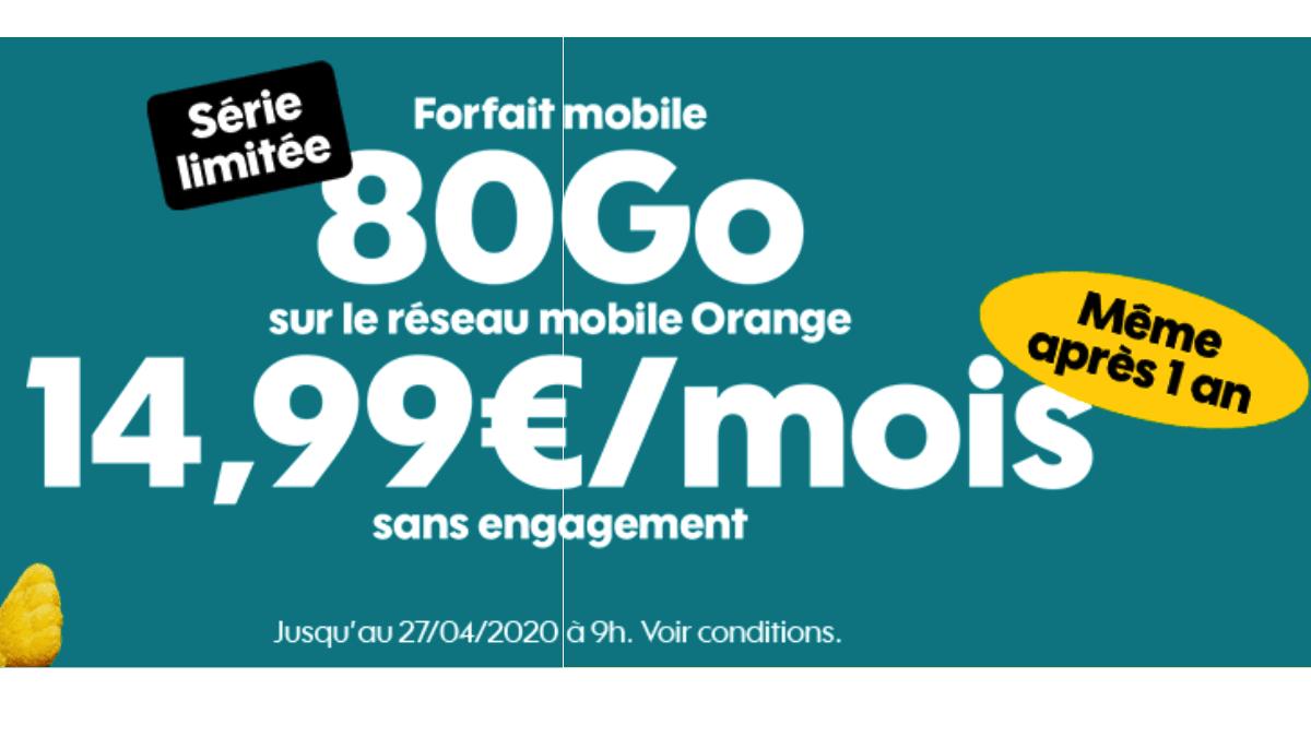 Chez Sosh, le forfait en promotion est à 14,99€/mois aussi.