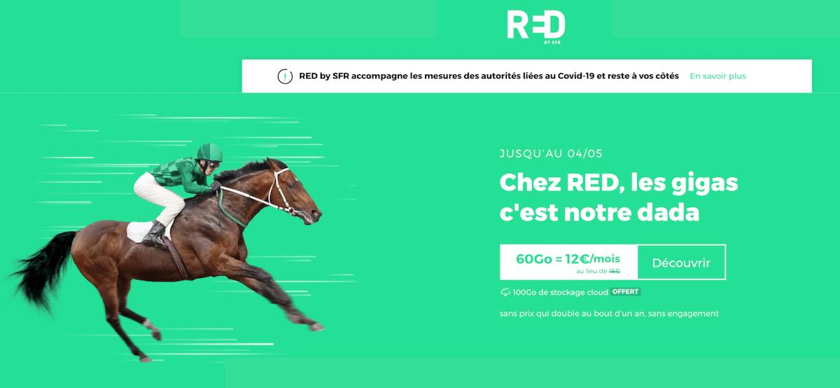 L'offre promotionelle de RED by SFR sur un forfait 4G