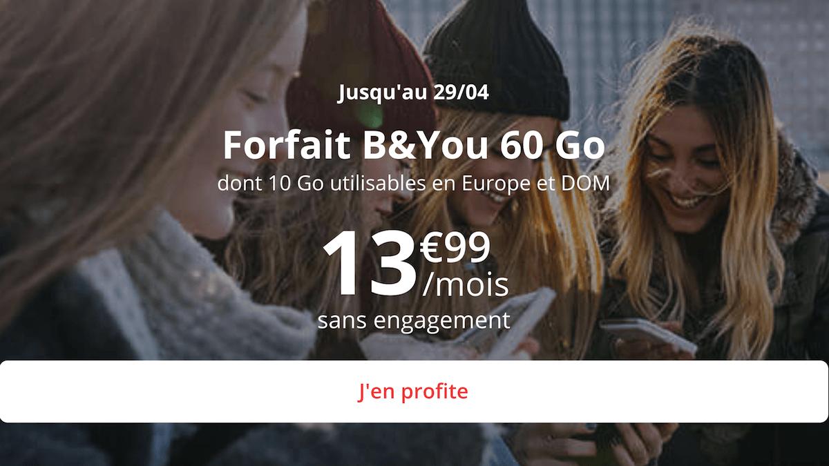 Le forfait 60 Go en promo de B&YOU est sans engagement