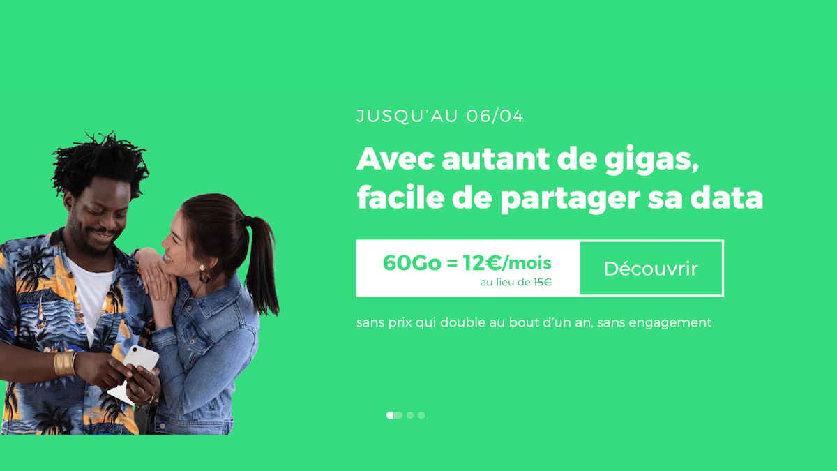 Le forfait 60 Go en promo de RED by SFR est à 12€/mois