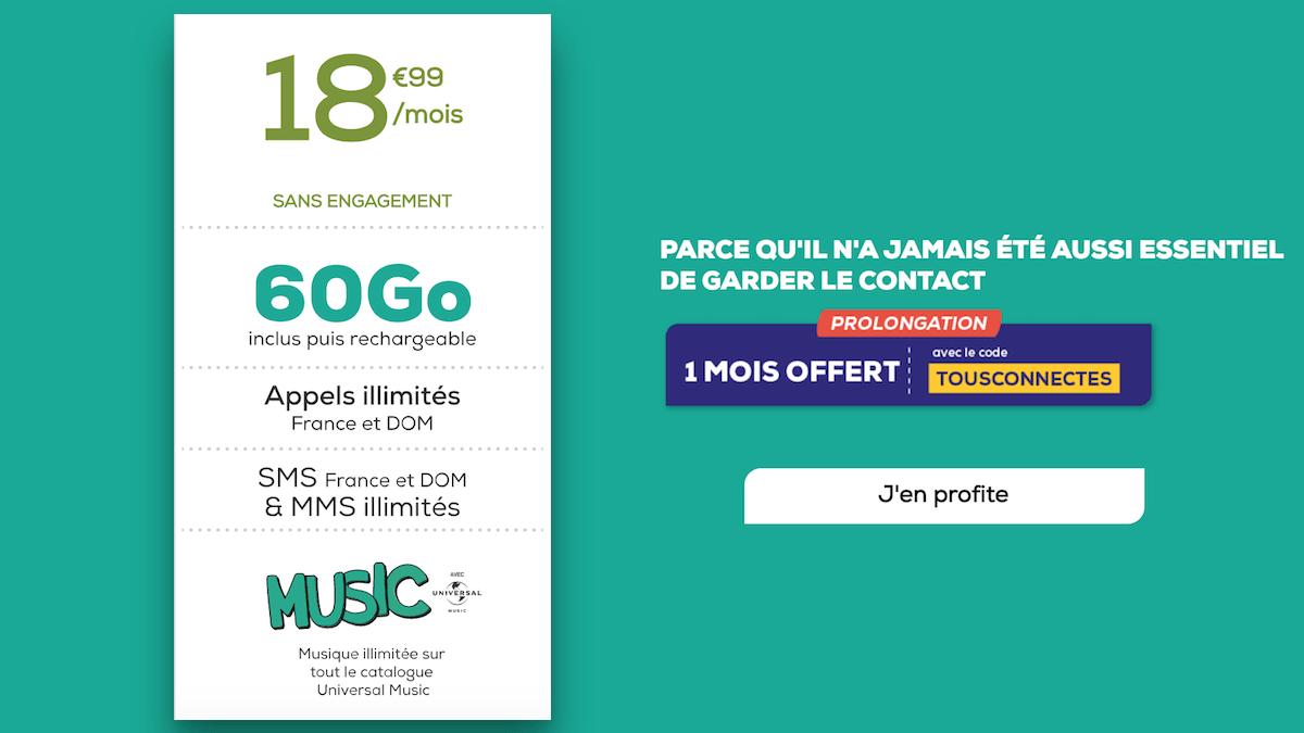 Le forfait 60 Go de La Poste Mobile avec un mois offert