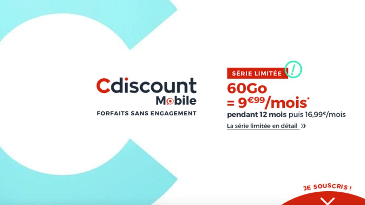 Le forfait 60 Go pas cher de Cdiscount Mobile est une série limitée