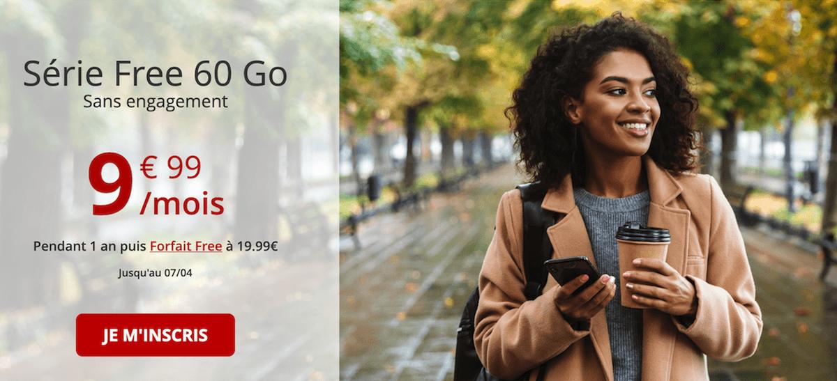 Le forfait 60 Go pas cher de Free mobile est sans engagement