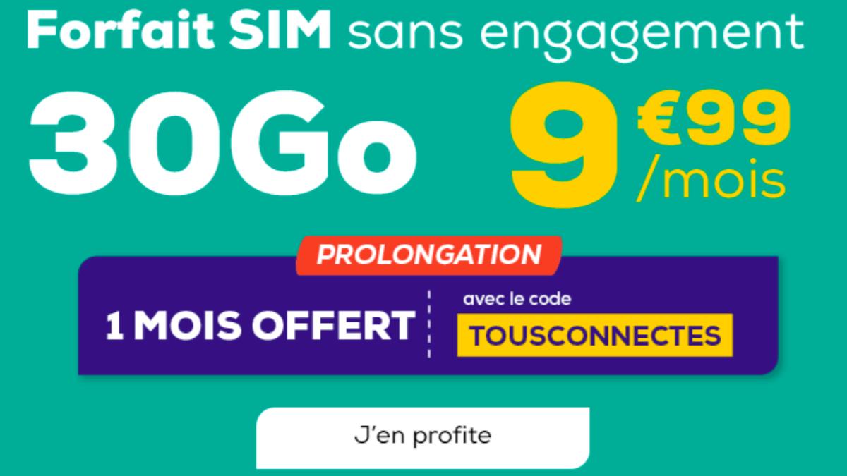 La Poste Mobile offre un mois d'abonnement sur son forfait SIM 30 Go.