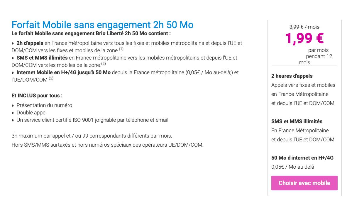 Coriolis Telecom et son forfait à 2€ : une offre sans engagement.