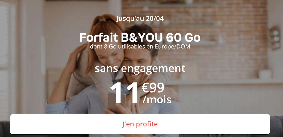 Le forfait B&YOU disponible en promotion