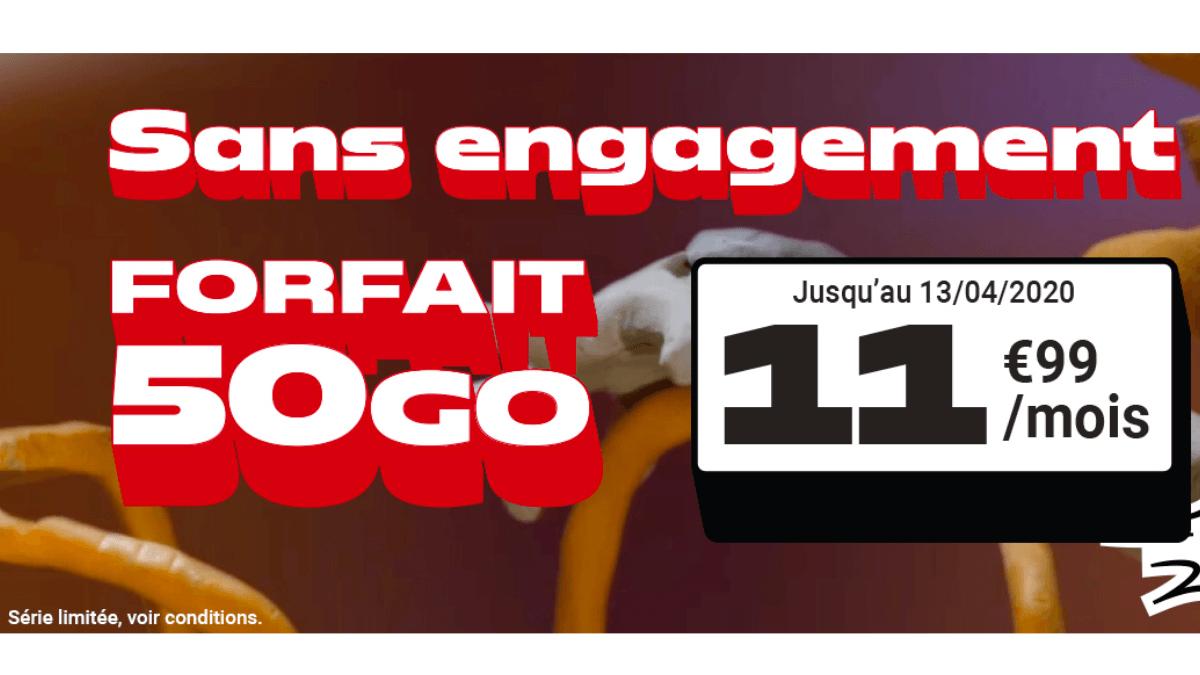 Le forfait en promotion de NRJ Mobile est à 50 Go à 11,99€/mois.