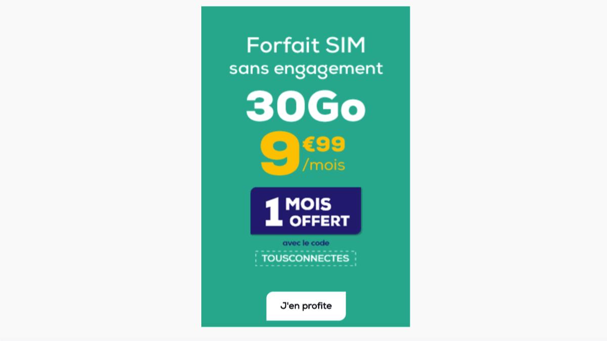 Le forfait 30 Go La Poste Mobile est à 9,99€/mois