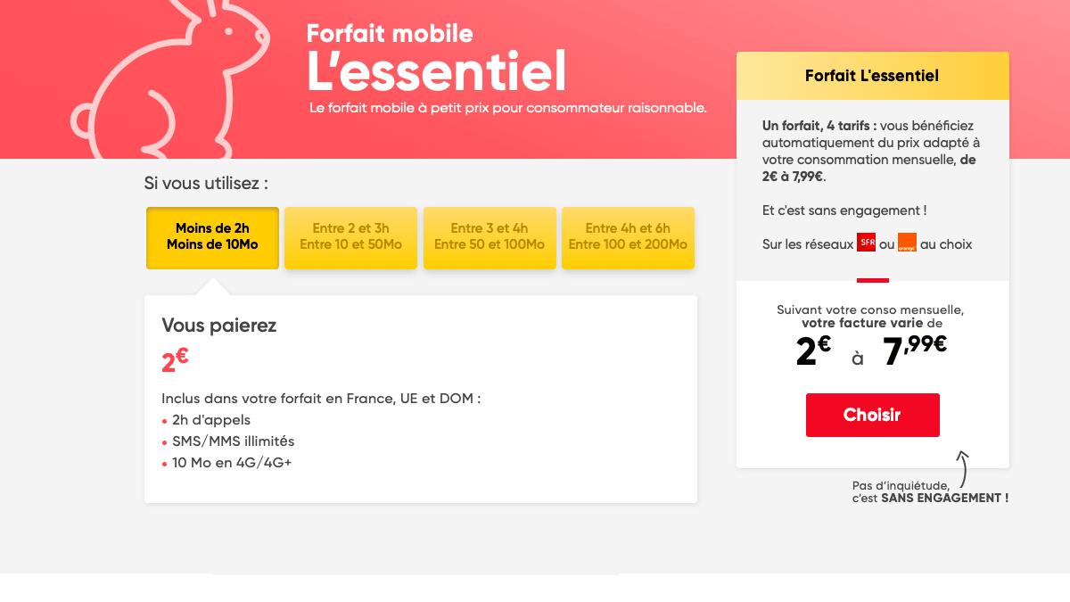 Prixtel propose un forfait à 2€ étant ajustable.