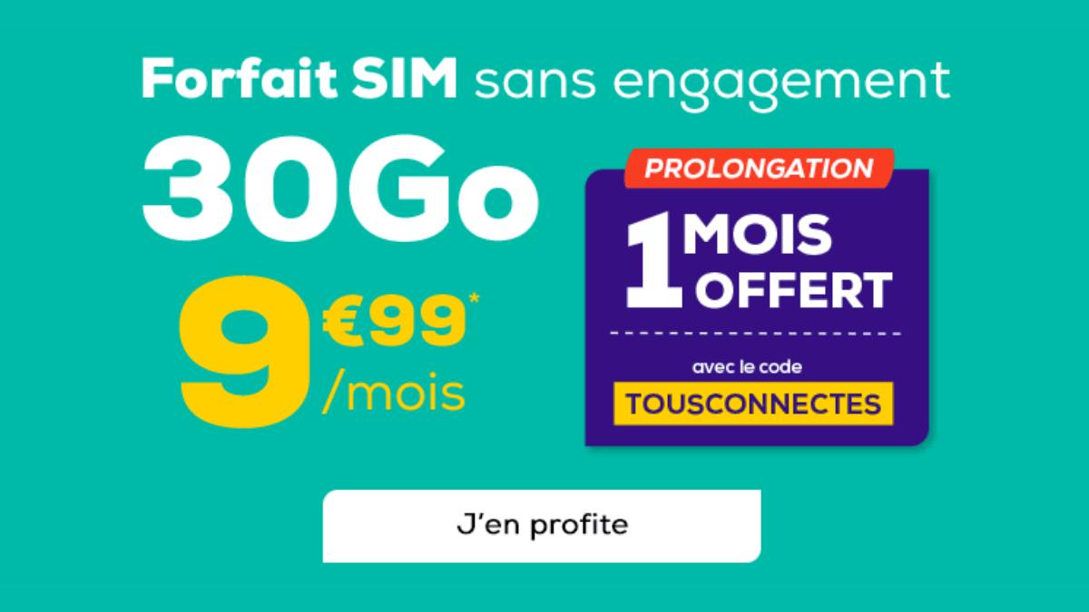 Le forfait 30 Go de La Poste Mobile est disponible sans engagement.