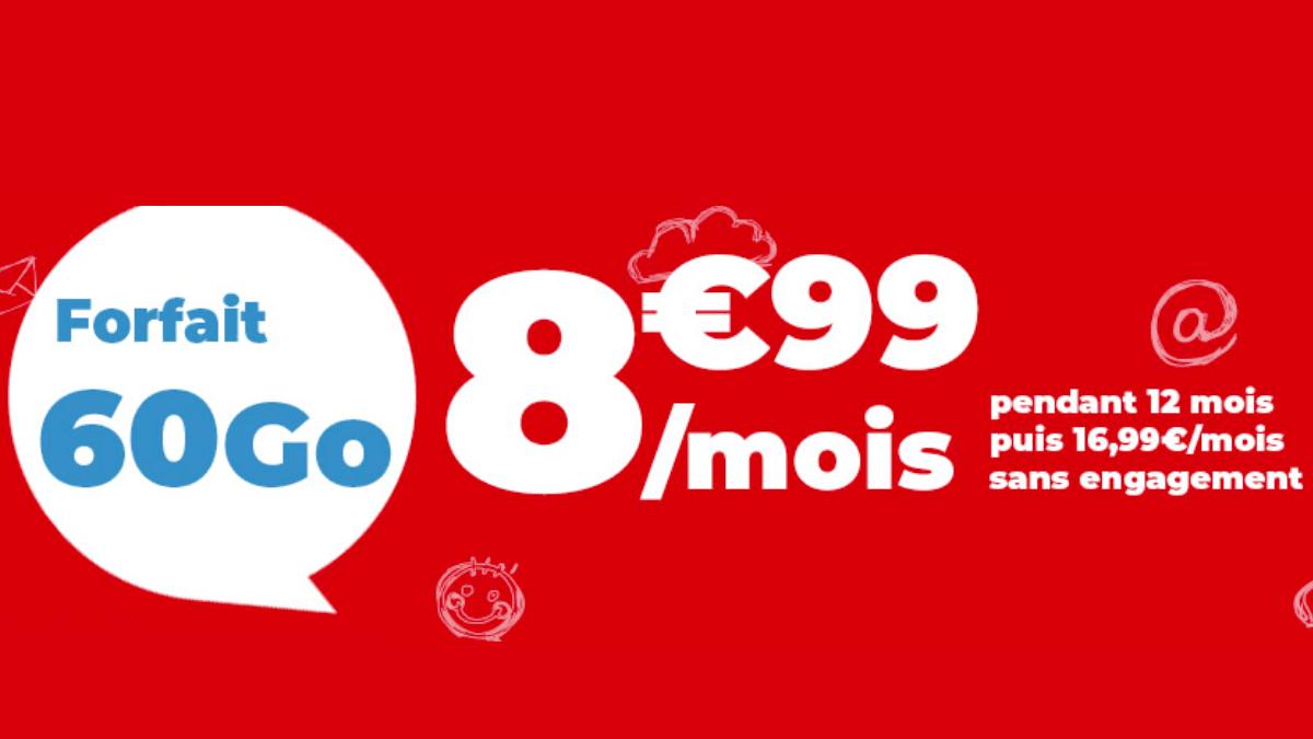 Super promo chez Auchan Telecom, le forfait 60 Go est à 8,99€/mois.