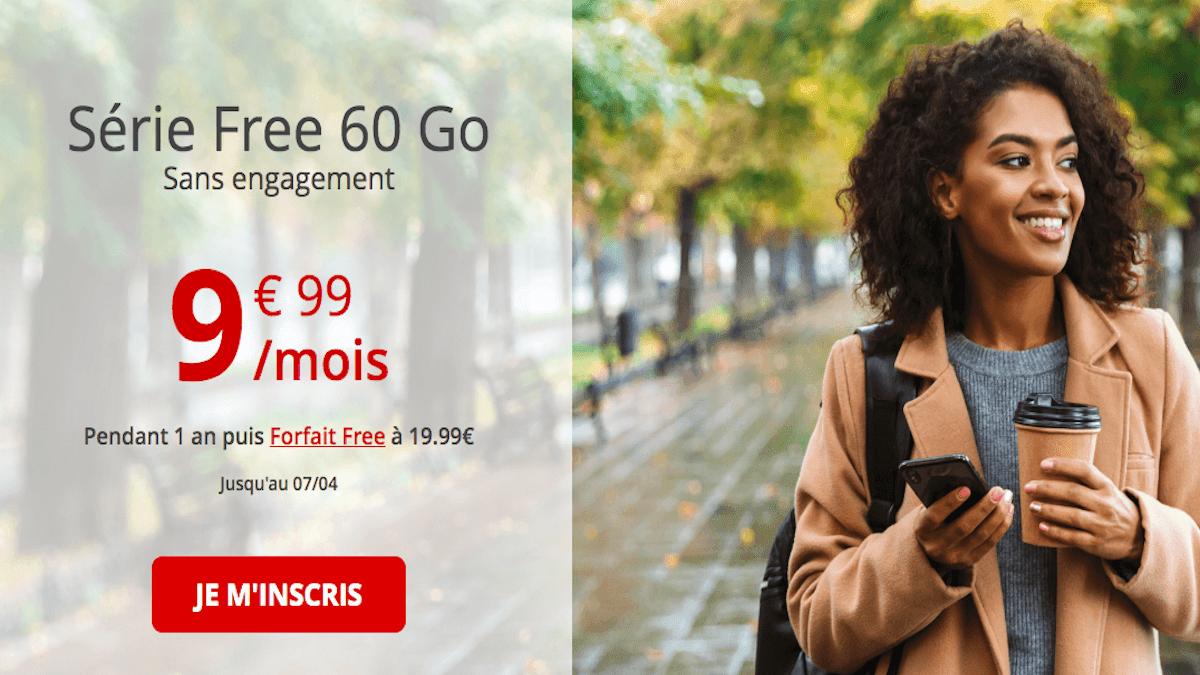 Forfait sans engagement 60 Go Free mobile