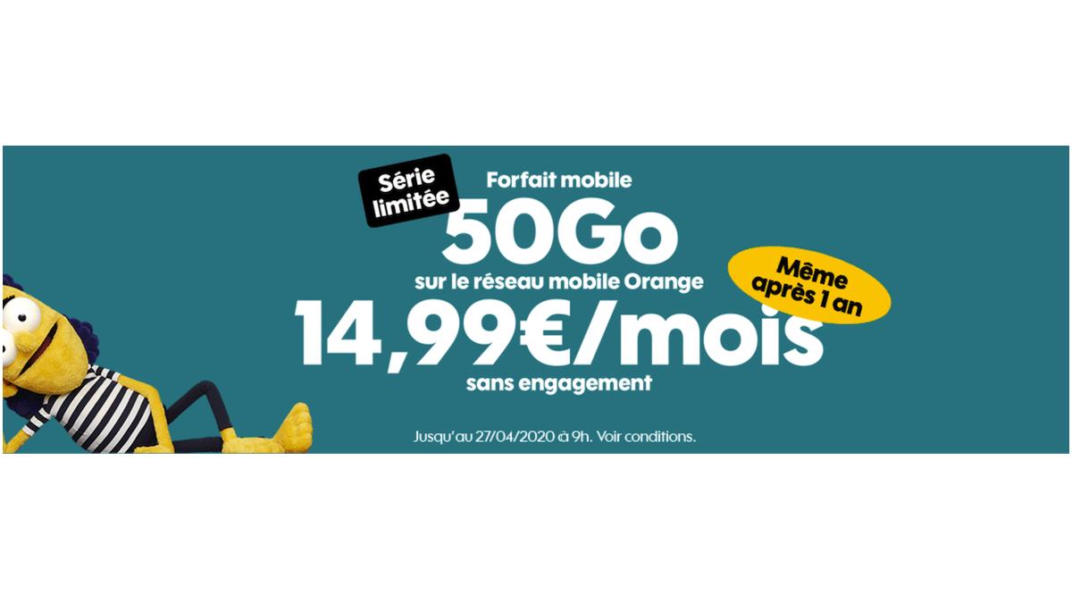 Le forfait sans engagement de Sosh est à 14,99€/mois