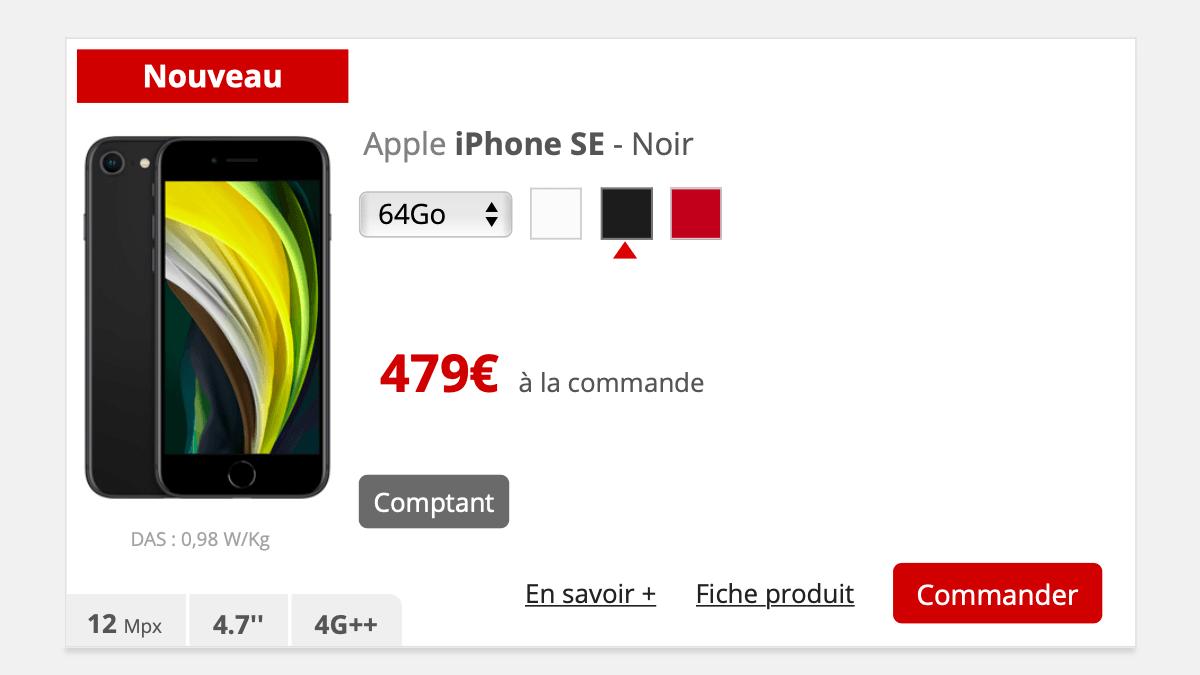 Chez Free mobile, l'iPhone SE est disponible à 479€ seulement.