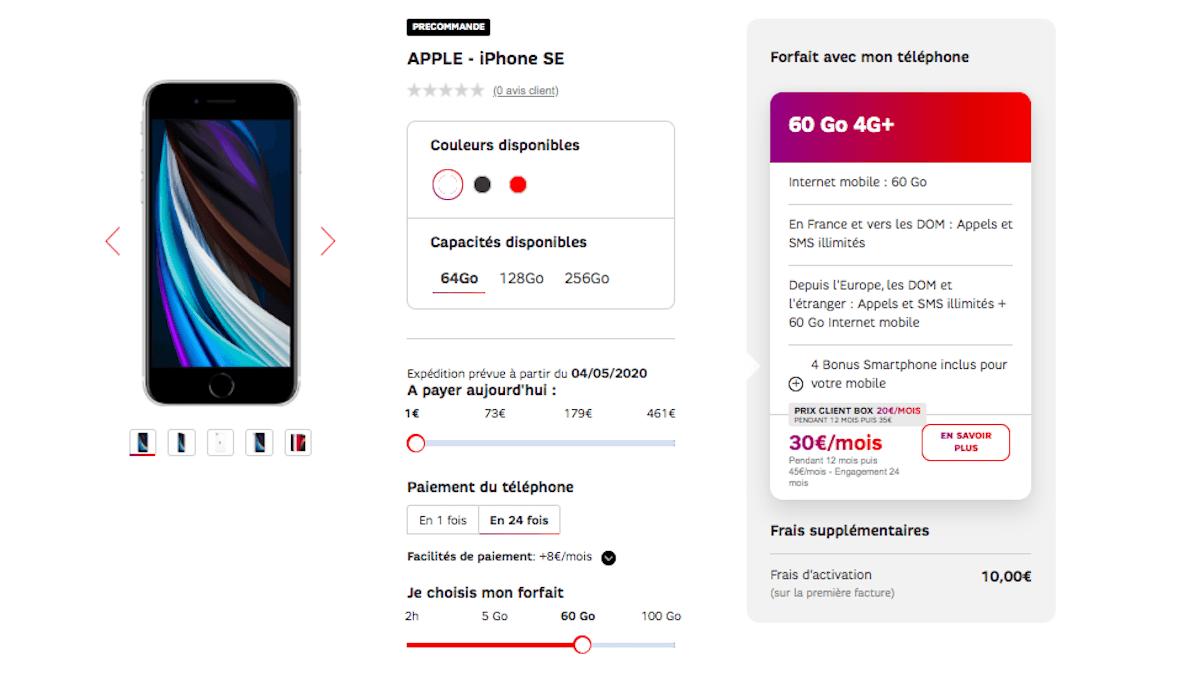offre iphone SE 2020 de SFR