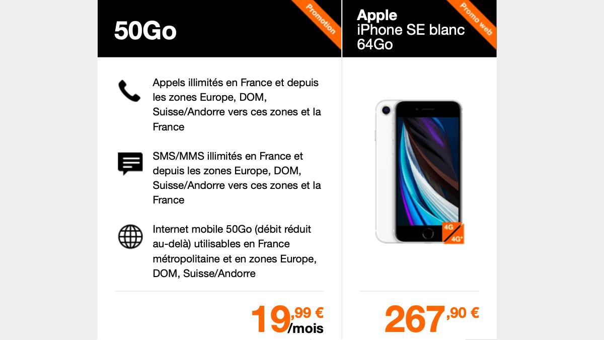 Orange propose également l'iPhone SE avec engagement et un forfait 50 Go.