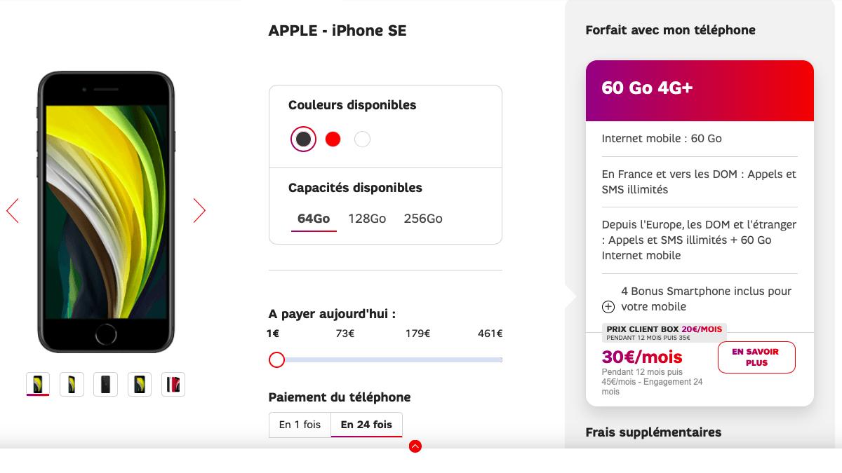 L'iPhone SE pas cher est disponible chez SFR.